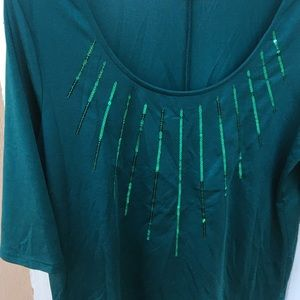 Green Short Sleeved Blouse w/ Green Sequins